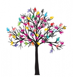 Tree with hands vector