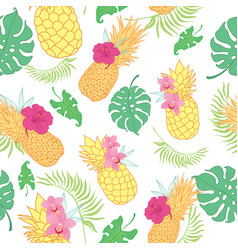 Tropical pineapples seamless repeat pattern vector