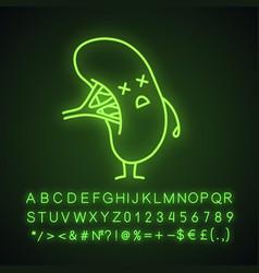 Unhappy human spleen character neon light icon vector