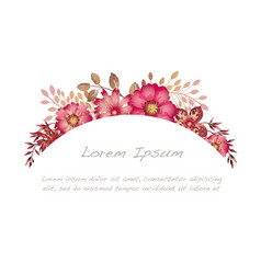 watercolor floral frame on a white background vector image