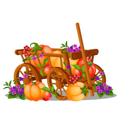 Wooden cart is filled with a harvest of ripe vector