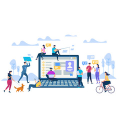 young people with phones at big laptop background vector image