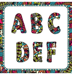 A B C D E F Letters of alphabet with ethnic motifs vector image vector image