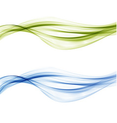 abstract blue and green waves set vector image