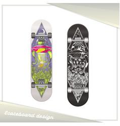 alien skateboard design vector image vector image