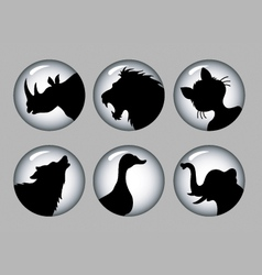 Animal Silhouette Black and White 1 Icons vector image vector image