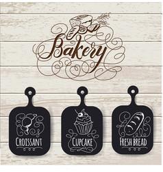 bakery menu design and bakery hand drawn vector image vector image