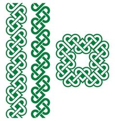 Celtic green Irish knots braids and patterns vector image