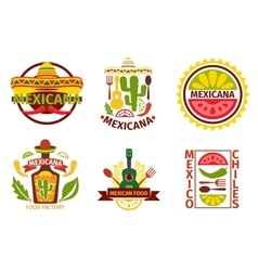 Mexican food logo labels emblems and vector image vector image