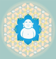 Sacred Geometry flower of life blue lotus vector image