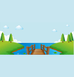 scene with pier and river vector image