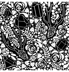 Seamless black and white background with skulls vector image