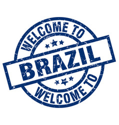 welcome to brazil blue stamp vector image