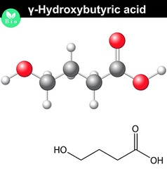 4-Hydroxybutanoic acid molecular structure vector image