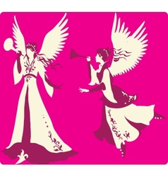 Beautiful angels silhouettes set vector image vector image