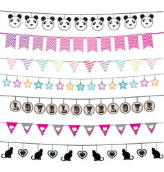 Colorful bunting and garland design set vector image vector image