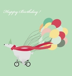 Birthday greeting card with funny white bear vector