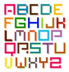Font colorful pixel retro digital alphabet letters vector