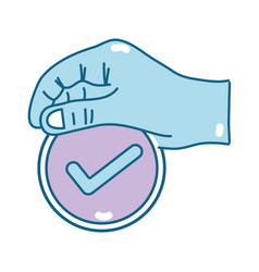 Hand with medicine symbol to help the people vector