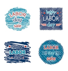 happy labor day sale set of badges and labels vector image vector image