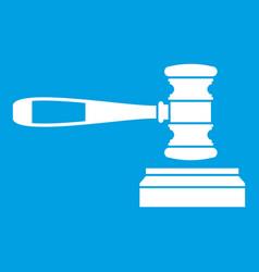 judge gavel icon white vector image vector image