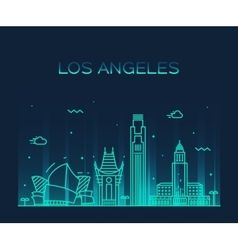 Los Angeles skyline linear vector image