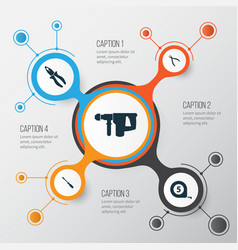 tools icons set collection of meter hammer vector image vector image