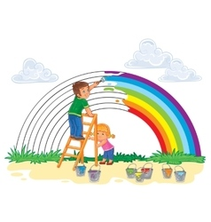 Carefree young children paint a rainbow of colors vector