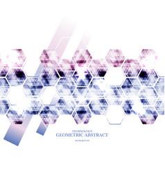 geometric technological reflected hexagon vector image