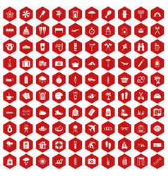 100 vacation icons hexagon red vector