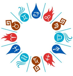 12 signs of the Zodiac circle vector image