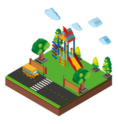 3d design for playground and road vector image