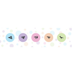 5 origami icons vector