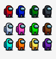 Among us is a collection colored characters vector