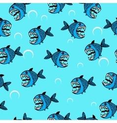 Angry sea fish seamless pattern vector image