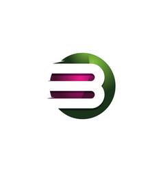 B 3d colorful circle letter logo icon design vector