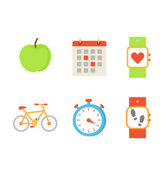 bicycle and apple fruit set vector image