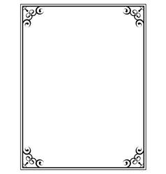 Black ornate frame on a white background vector