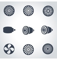 Black turbines icon set vector