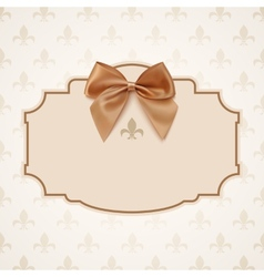 Blank banner with golden ribbon and a bow vector