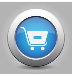 Blue button - shopping cart minus vector