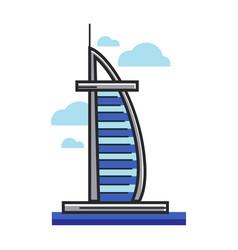 burj al-arab hotel arab emirates dubai vector image