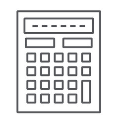 calculator thin line icon mathematics and vector image
