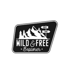camping badge adventure patch - wild and free vector image