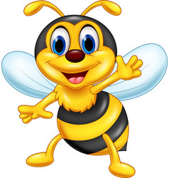 Cartoon happy bee waving vector