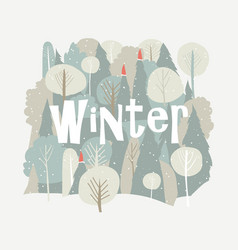 cartoon winter forest christmas background vector image