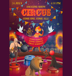 Chapiteau circus show performers and animals vector