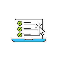 Checklist browser window check mark white tick on vector
