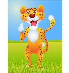 Cheetah cartoon with thumb up vector
