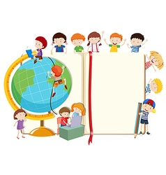 Children with globe and book vector